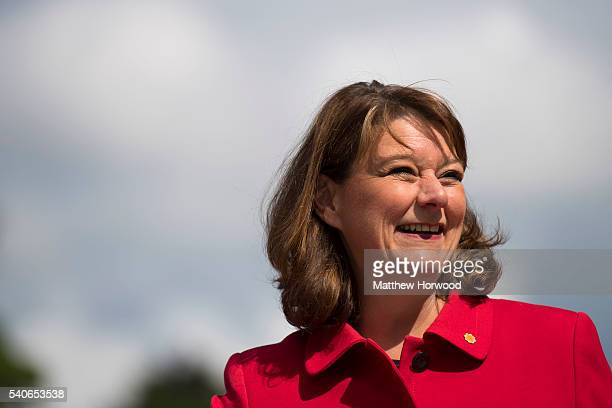 Plaid Cymru Leader Leanne Wood smiles as she and Alex Salmond former First Minister of Scotland make a case for Wales and Scotland's place within the...