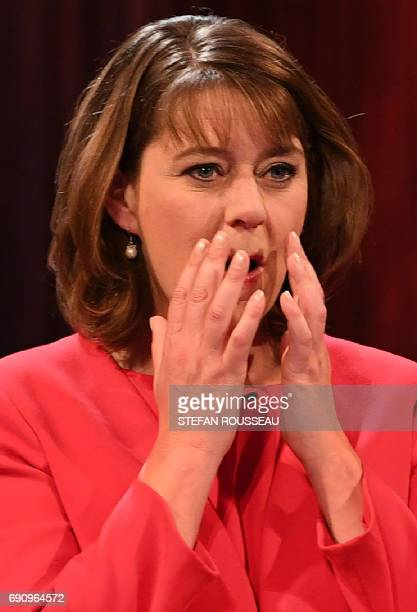Plaid Cymru leader Leanne Wood takes part in the BBC Election Debate hosted by BBC news presenter Mishal Husain and broadcast live from Senate House...
