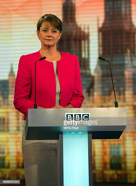 Plaid Cymru leader Leanne Wood takes part in the Live BBC Election Debate 2015 at Central Hall Westminster on April 16 2015 in London England The...