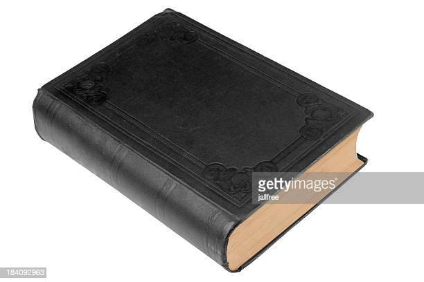 Simples preto velho livro em branco com caminho