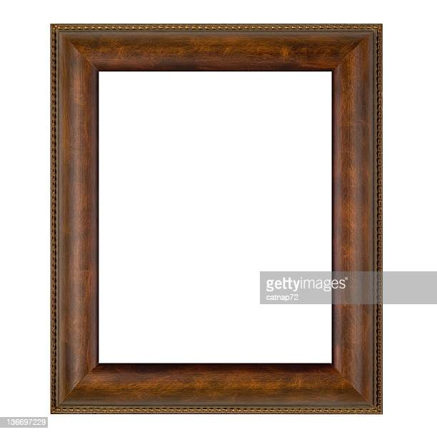 Plain Brown Picture Frame, Wide, White Isolated