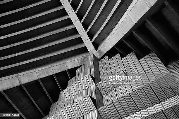 A plain brush box timber wall and concrete ceiling of the exterior of the concert hall at the Sydney Opera House on October 17 2013 in Sydney...