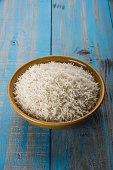 indian basmati rice, pakistani basmati rice, asian basmati rice, cooked basmati rice, cooked white rice, cooked plain rice in ceramic bowl over colourful background