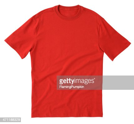 Plain red tee shirt isolated on white background