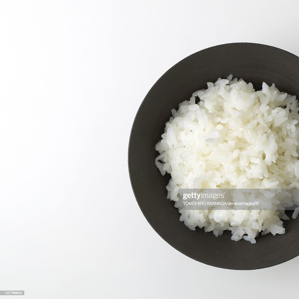 Plain rice in a Japanese bowl : Stock Photo