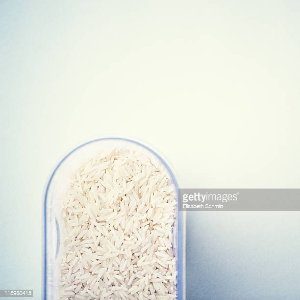 Plain rice in  simple plastic container