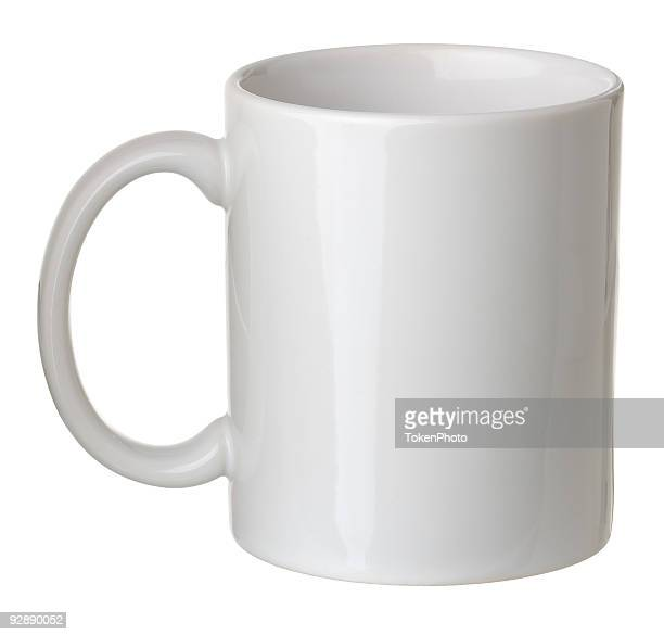 Plain white coffee mug isolated on white background
