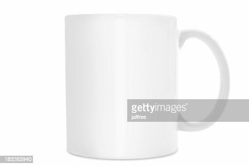 Plain White coffee mug isolated on white background with path
