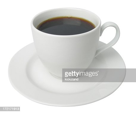 Plain white tea cup filled with coffee on white background