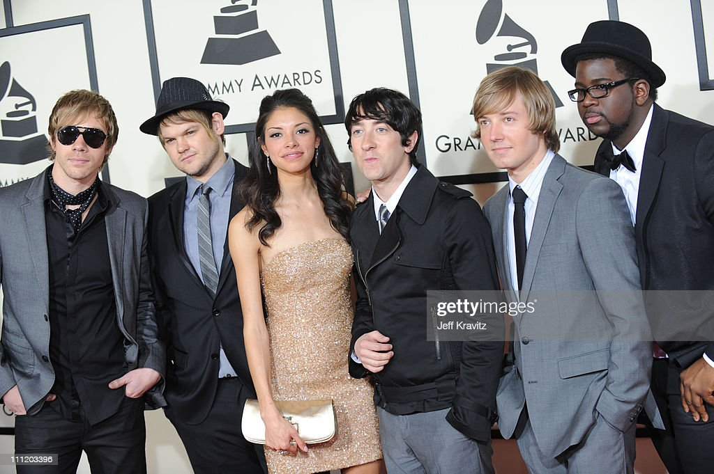 Plain White T's and Delilah DiCrescenzo who inspired the song 'Hey There Delilah' arrives to the 50th Annual GRAMMY Awards at the Staples Center on...