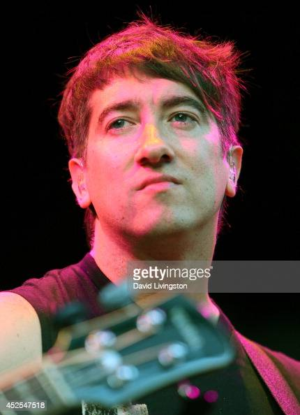 Plain White T's lead singer Tom Higgenson performs on stage at The Greek Theatre on July 22 2014 in Los Angeles California