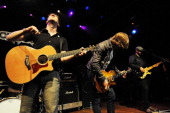 Plain White T's perform during the MTV Games Hosts Rock Band 2 Party to Benefit LIFEbeat at the House of Blues on September 6 2008 in Los Angeles...