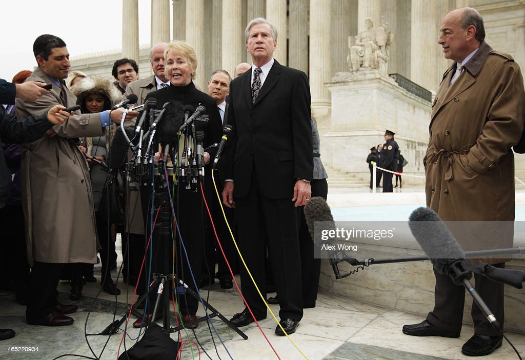 Plaintiff Douglas Hurst and his wife Pamela Hurst speak to members of the media outside the US Supreme Court after oral arguments March 4 2015 in...