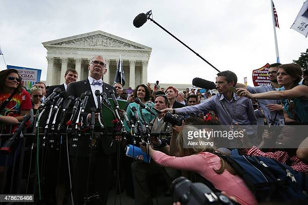 Plaintiff Jim Obergefell speaks to members of the media after the US Supreme Court handed down a ruling regarding samesex marriage June 26 2015...