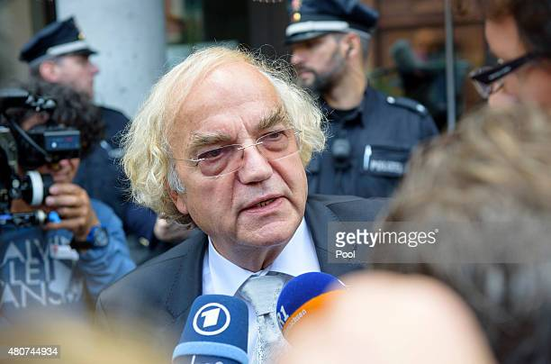 Plaintiff lawyer Thomas Walther speaks to the press after the trial of Oskar Groening a former member of the WaffenSS who worked at the Auschwitz...