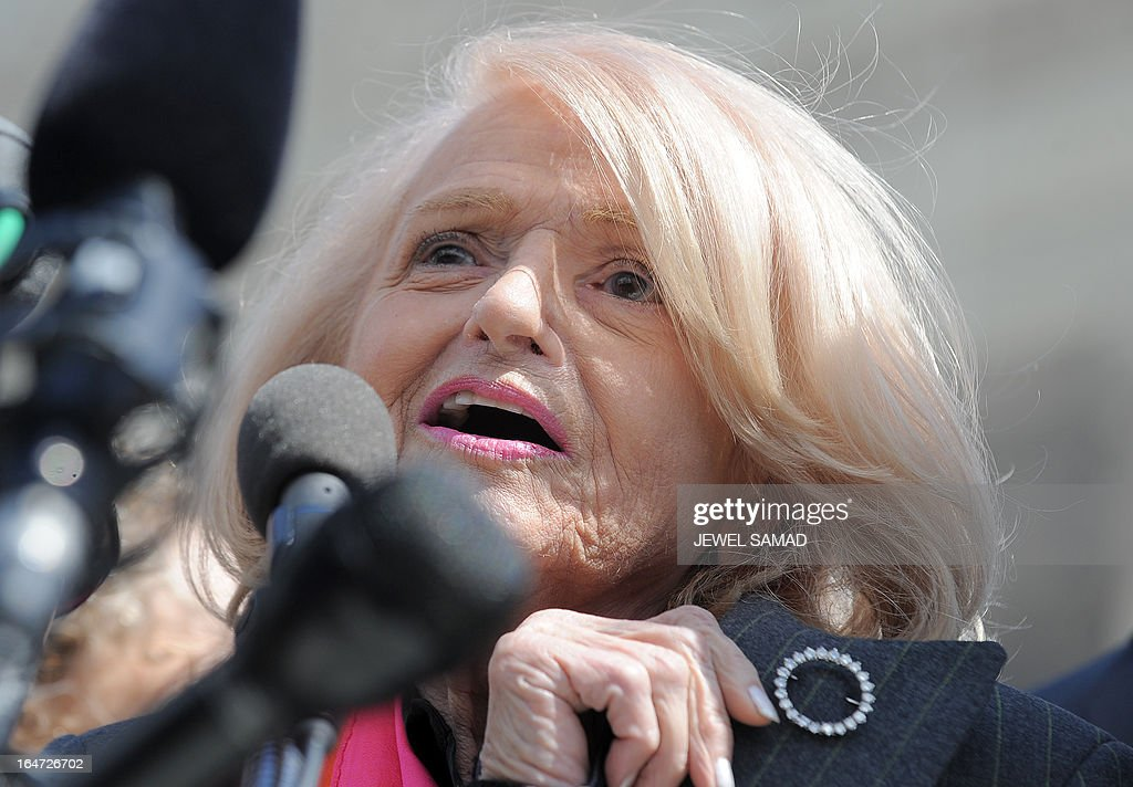 Plaintiff of the US v. Windsor case challenging the constitutionality of Section 3 of the Defense of Marriage Act (DOMA), 83-year-old lesbian widow Edie Windsor shows a diamond pin which her partner gave as engagement gift as she makes a statement to the media in front the Supreme Court on March 27, 2013 in Washington, DC. The US Supreme Court tackled same-sex unions for a second day Wednesday, hearing arguments for and against the 1996 US law defining marriage as between one man and one woman. After the nine justices mulled arguments on a California law outlawing gay marriage on Tuesday, they took up a challenge to the constitutionality of the federal Defense of Marriage Act (DOMA). The 1996 law prevents couples who have tied the knot in nine states -- where same-sex marriage is legal -- from enjoying the same federal rights as heterosexual couples. AFP PHOTO/Jewel Samad