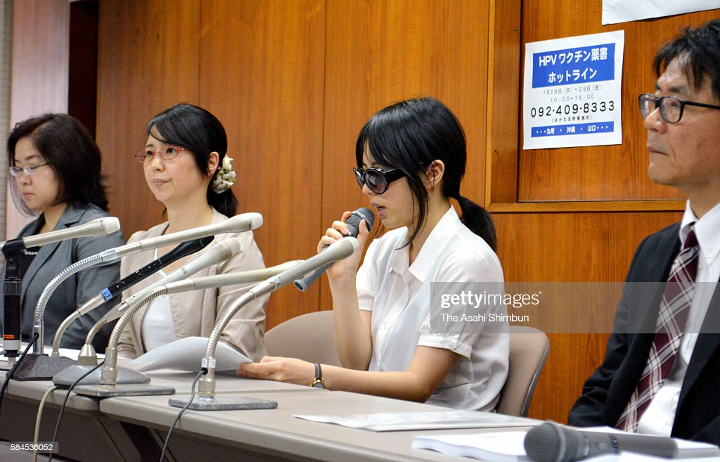 A plaintiff speaks during a press conference on July 27 2016 in Fukuoka Japan Sixtythree female plaintiffs between the ages of 15 and 22...