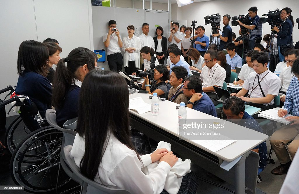 Plaintiffs attend a press conference on July 27 2016 in Osaka Japan Sixtythree female plaintiffs between the ages of 15 and 22 simultaneously filed...