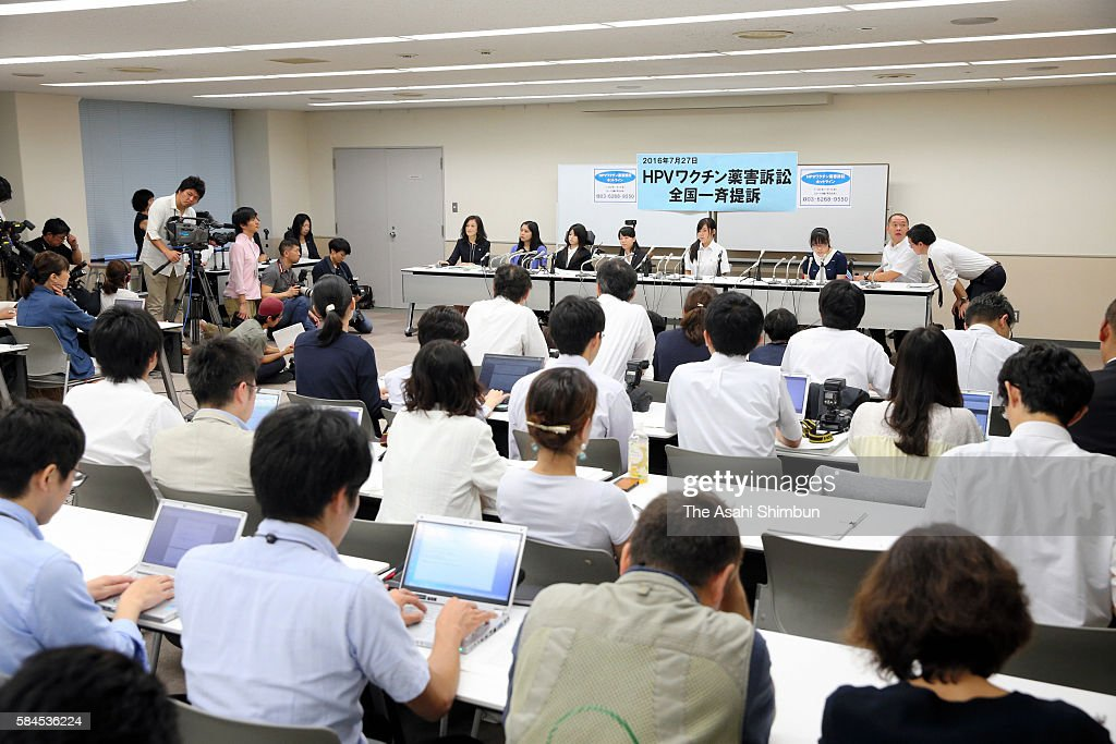 Plaintiffs hold a press conference on July 27 2016 in Tokyo Japan Sixtythree female plaintiffs between the ages of 15 and 22 simultaneously filed...