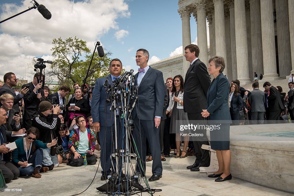 Plaintiffs in the Obergefell v Hodges case Michael DeLeon left and Gregory Bourke right from Louisville KY speak outside the US Supreme Court April...