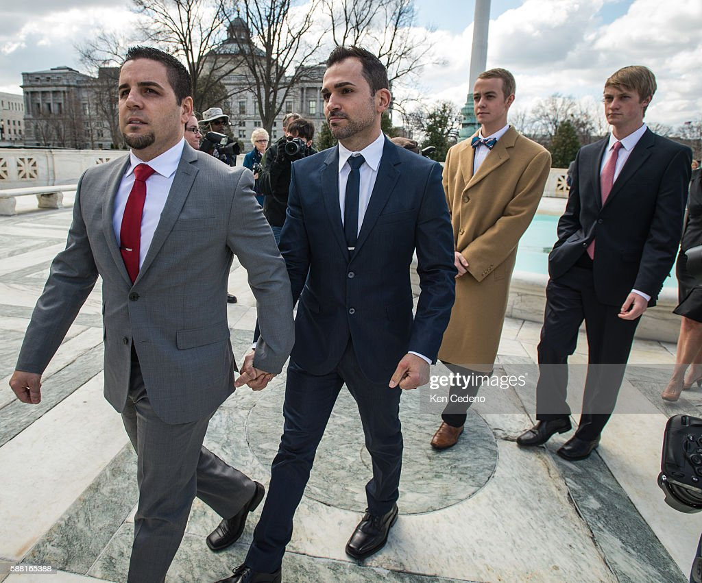 Plaintiffs Jeff Zarillo left and Paul Katami right leave the US Supreme Court after oral arguments Tuesday March 26 2013 in Washington DC The Supreme...