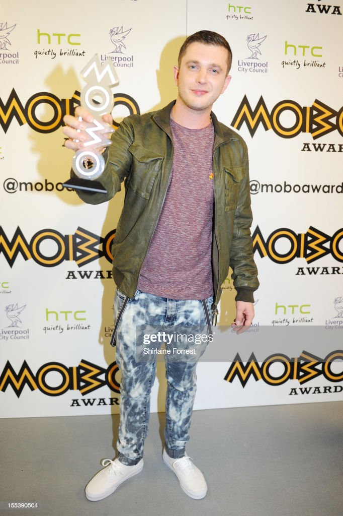 Plan B poses in the awards room at the 2012 MOBO awards at Echo Arena on November 3, 2012 in Liverpool, England.