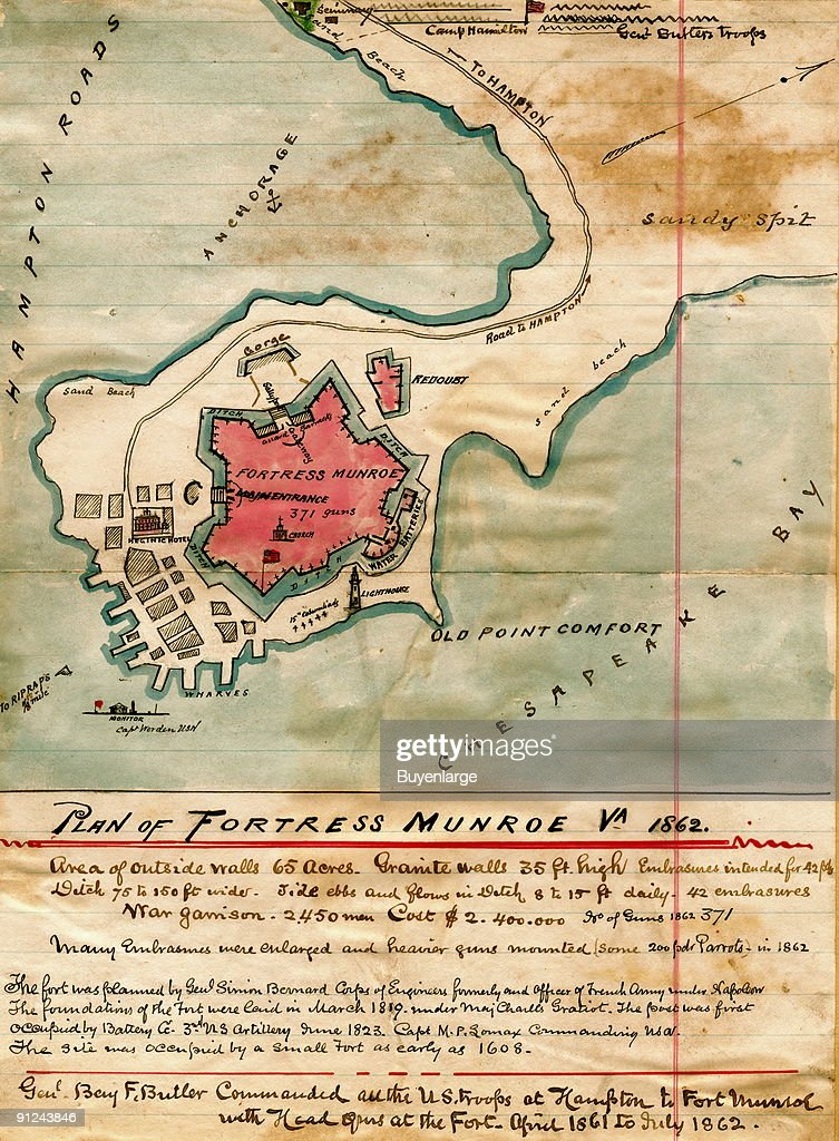 Plan Fort Monroe fortifications, including the Chesapeake Bay, Old Point Comfort, and Camp Hamilton to the north; General Benjamin F. Butler Commanding, Hand Drawn Map