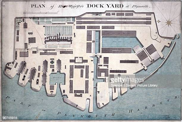 Plan from a collection of documents dated c 17971847 relating to the work of Simon Goodrich mechanist to the Navy Board The Royal Naval Dockyard at...