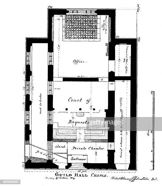 A plan of Guildhall Chapel King Street Cheapside London 1819 A print from Guildhall of the City of London Its History and Associations Corporation of...