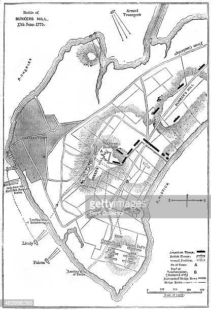 Plan of the Battle of Bunker Hill Boston Massachusetts 1775 Showing the first and second positions of the troops Although the British won the battle...