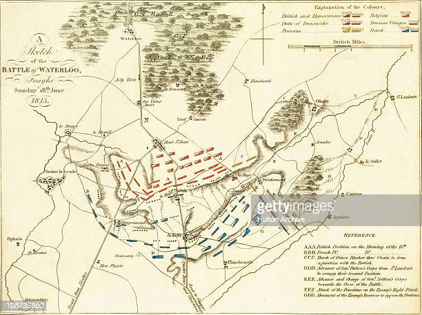A plan of the Battle of Waterloo in presentday Belgium during the Napoleonic Wars 18th June 1815 Here an AngloAllied army under the command of the...