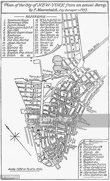 Plan of the city of New York showing the tip of Manhattan which is developed and the undeveloped farmland up to about presentday 42nd Street Surveyed...