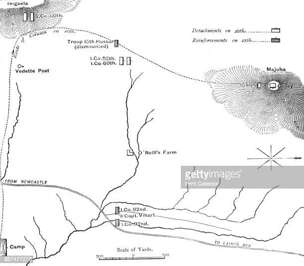 Plan of the March to Majuba Hill ' circa 1880s From British Battles on Land and Sea Vol IV by James Grant [Cassell Petter Galpin London Paris...
