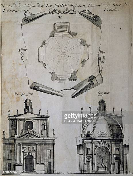 Plan perspective drawing and crosssection of the chapel of Villa Manin in Passariano near Udine design by Domenico Rossi Italy 18th century Udine...