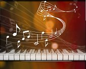 Classic piano keyboard and music notes