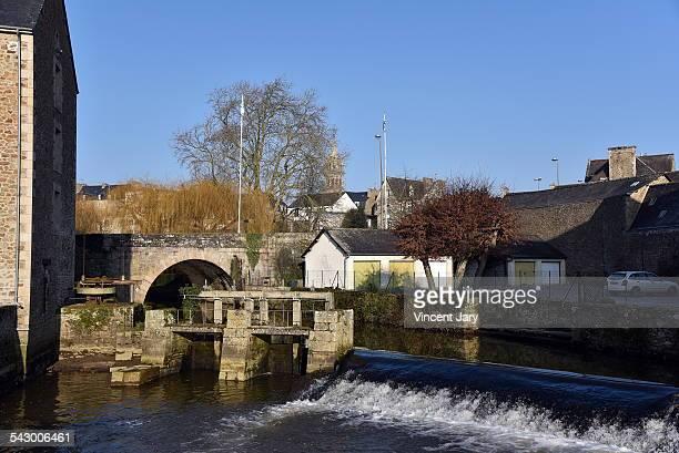 Plancoet city and arguenon river