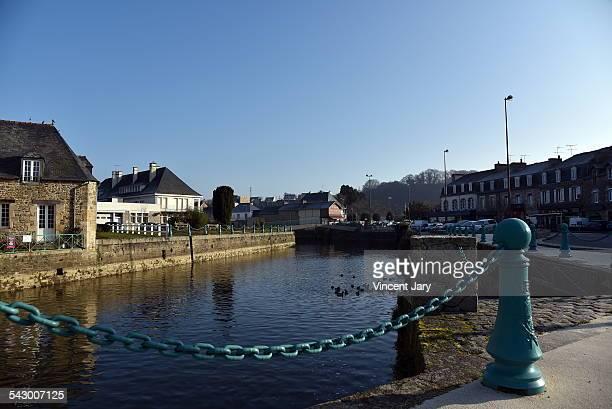 Plancoet city with arguenon river