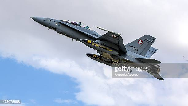 F18 plane belonging to the Swiss Air Forces is seen in the sky during the NATO Tiger Meet 2015 drill press tour at the Konya 3rd Main Jet Base...
