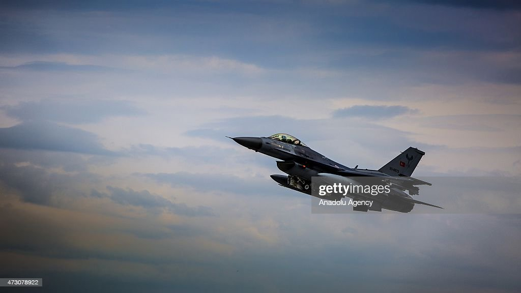 F16 plane belonging to the Turkish Air Forces is seen in the sky during the NATO Tiger Meet 2015 drill press tour at the Konya 3rd Main Jet Base...