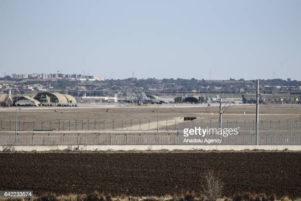 Plane carrying Chairman of the Joint Chiefs of Staff of the United States Joseph Dunford lands at Incirlik Air Base in Adana province of Turkey on...