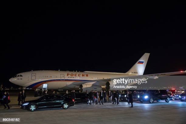 Plane carrying Russian President Vladimir Putin lands at Esenboga International Airport in Ankara Turkey on December 11 2017 Putin is on a one day...