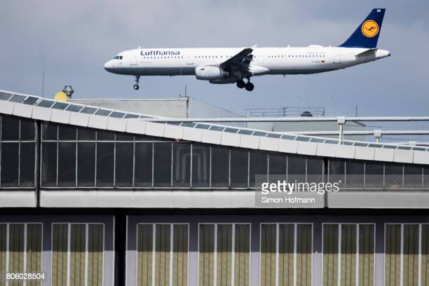 A plane carrying the Germany National Football Team arrives at Frankfurt International Airport on July 3 2017 in Frankfurt am Main Germany