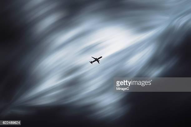 Plane Flying in Shuttle Sky