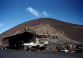 JUNE 1943 A plane is parked by a hut at the US Army Air Force base on Ascension Island a British Overseas Territory A joint US Air Force base and...