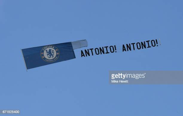 A plane is pictured over the stadium showing it's support for Antonio Conte Manager of Chelsea during The Emirates FA Cup SemiFinal between Chelsea...
