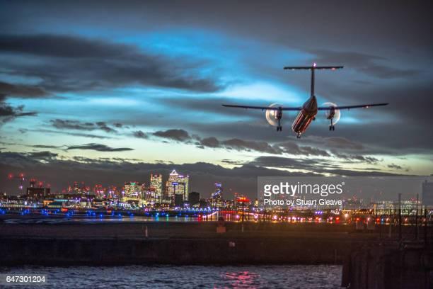 Plane landing at City Airport