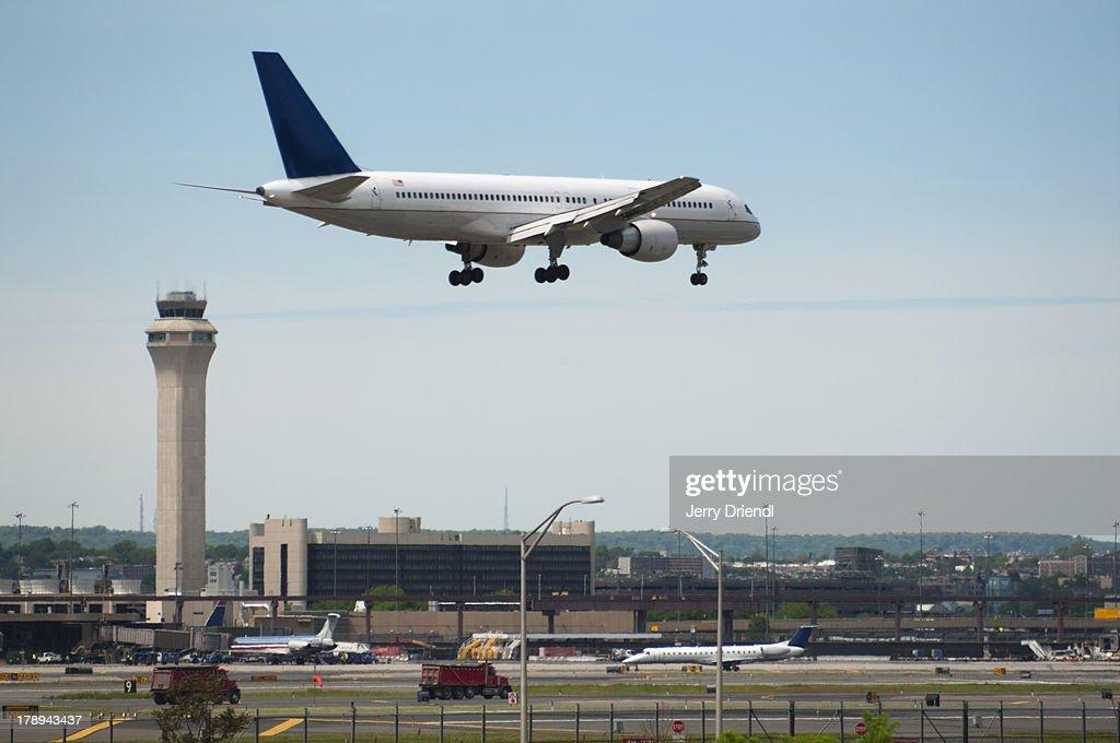 Plane landing at Newark Liberty Airport.