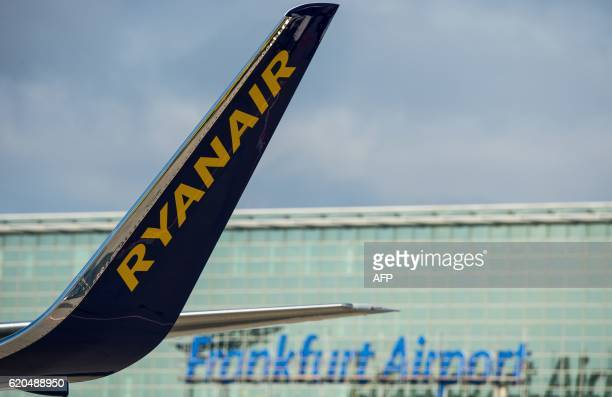 A plane of Irish lowcost airline Ryanair stands at the airport in Frankfurt am Main western Germany on November 2 2016 Ryanair said it would base two...