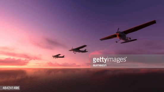 Plane over the ocean. : Stock Photo
