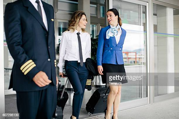 Plane 's cabin crew departing the airport.